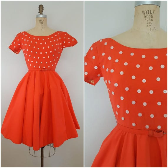 Vintage 1950s Dress / Tangerine Button Dress / XS