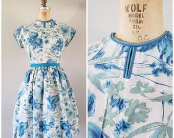 Vintage 1960s Dress / Blue Floral Day Dress / Medium