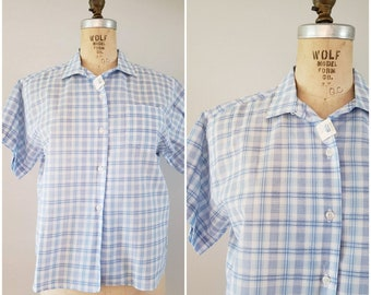 Vintage 1960s Ladies Blouse / Blue and White Checkered Shirt / Short Sleeve Summer Shirt / DEADSTOCK / Large