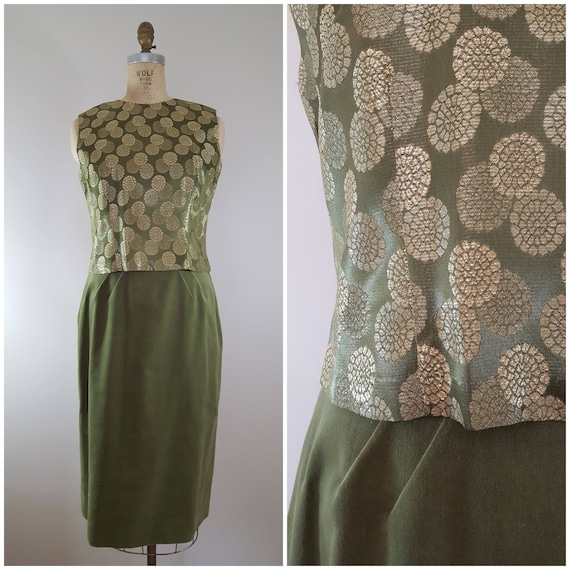 Vintage 1960s Skirt and Blouse Set / Olive Velvet