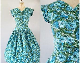 Vintage 1950s Dress / Teal Floral Dress / Vintage 50s Dress / Small