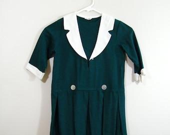 Vintage 1960s Girls Dress / Hunter Green / Pleated Skirt
