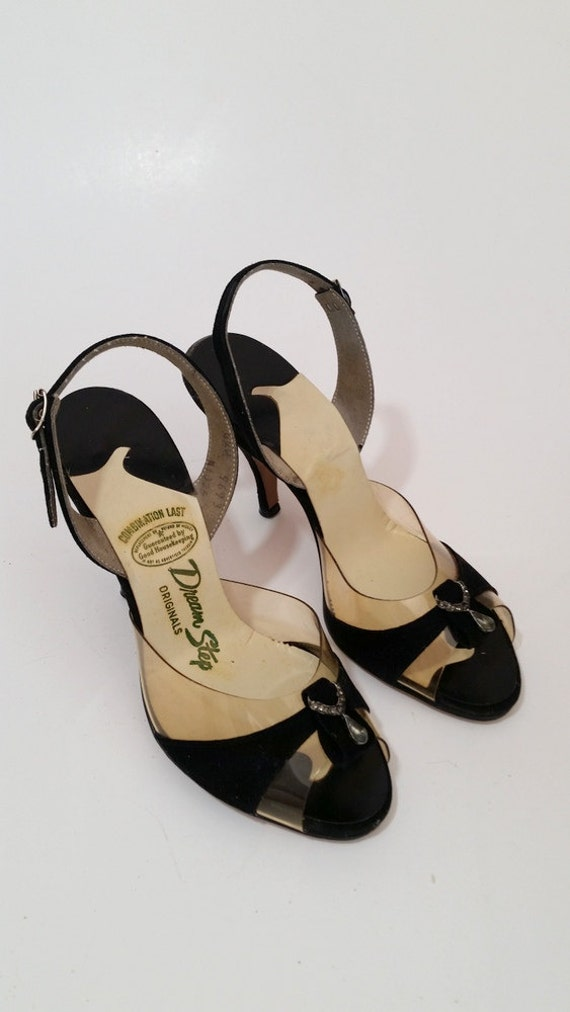 1690dac5a8b Vintage 1950s Black Velvet and Clear Peeptoe Slingback Heels