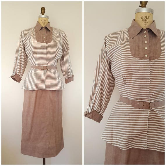 Vintage 1940s Peplum Suit / Brown Striped Suit / 4