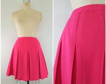 Vintage 1960s Pink Wool Pleated Skirt / Short Swing Skirt / Raspberry Pink / Small
