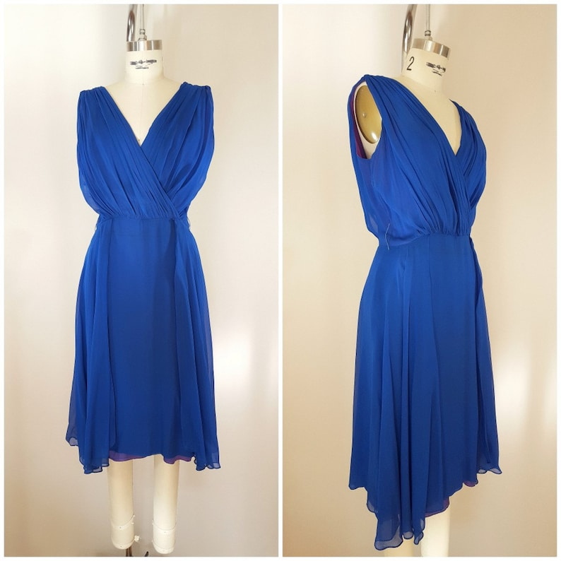 51b226179c0 Vintage 1960s Cocktail Dress   Royal Blue Chiffon Dress