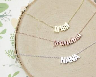 Grandma Necklace | Grandmother | Gigi | Mimi | Nana | Yaya | Mema | Abuela | Oma | Custom Name | Pregnancy Reveal | Mothers Day Gift