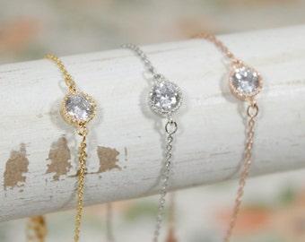 Cubic Zirconium Bracelet | Layered Bracelet | Sparkling | Bridesmaid Bracelets | Wedding Day Jewelry | C.Z. Bracelet | Gift for Her