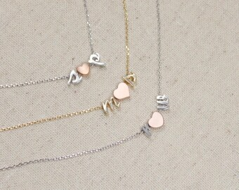 Tiny Double Initial Script Necklace with Heart   Couple's Necklace   Wedding   Bridesmaid Gift   Shower Gift   Anniversary  Mothers Day Gift