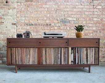 Large Record Cabinet W/ Sliding Doors // 425+ Record Storage