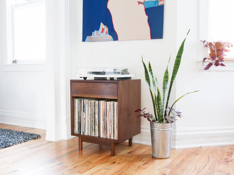 Mid Century Small Record Cabinet Record Player Stand Etsy