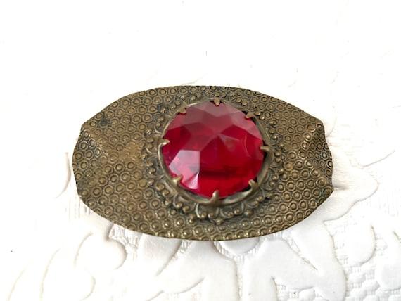 antique Vampire brooch pin red glass