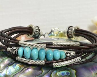 Nevada Blue Turquoise Leather bracelet  multi strand bracelet Bangle Bracelet Boho Jewelry Hippie Bracelet