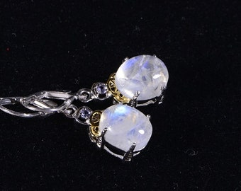 Moonstone Earrings Wire Wrapped Sterling silver Gemstone Earrings Drop Earrings Birthstone Jewelry