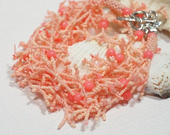 Pink Coral Necklace Bead work Necklace Coral Jewelry Beaded Necklace
