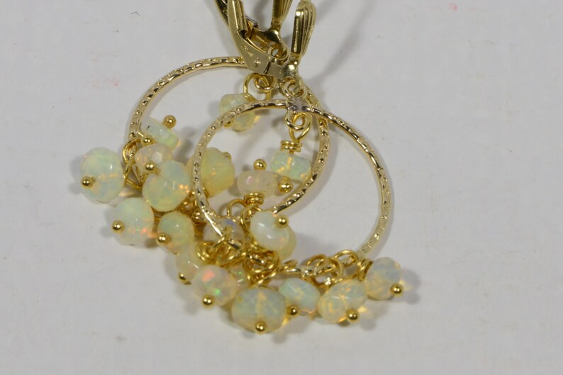Ethiopian Opal Earrings 14 K gold Filled Wire Wrapped Hoop Earrings Jewelry Birthstone October