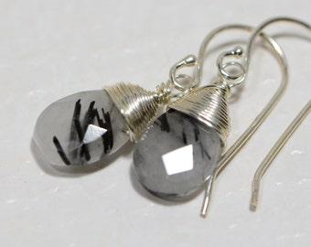 Tourmalated Quartz Earrings Wire Wrapped on sterling silver wire Gemstone earrings Drop Earrings Dangle earrings Birthstone Jewelry