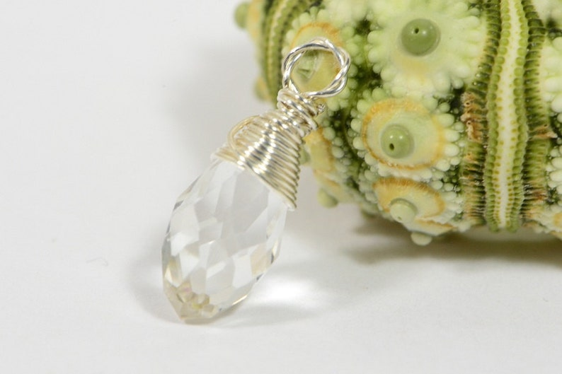 Clear Teardrop wire wrapped on sterling silver Birthstone Charm Personalized Pendant