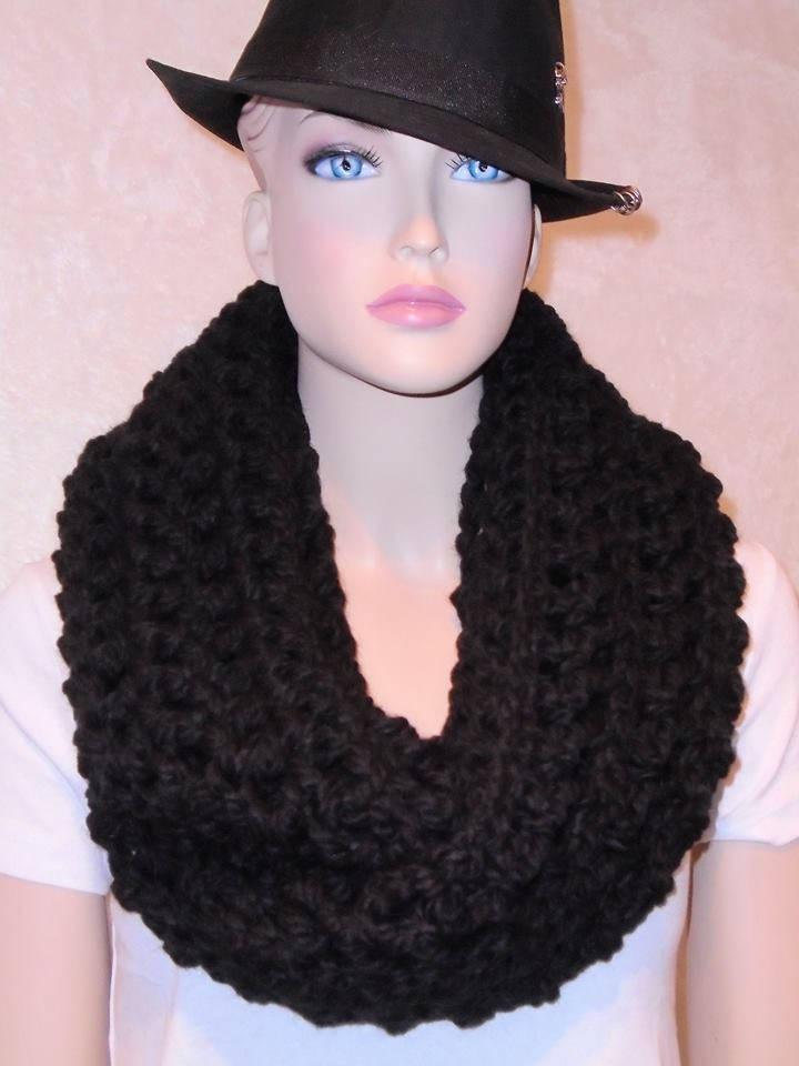 Schwarzer dicker Schal Schal gehäkelte Schal schwarz