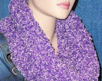 Crochet Infinity Scarf, Purple Crochet Infinity Scarf, Plush Purple Scarf, Chunky Crochet Infinity Cowl Neck Eternity Handmade Scarf