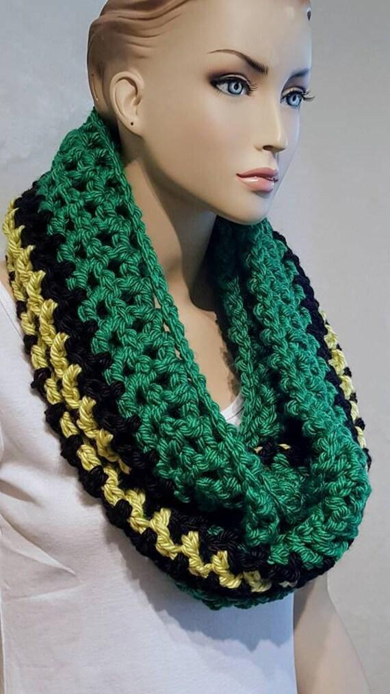 Schwarz Häkelschal dicker Schal grünen Schal schwarzen | Etsy