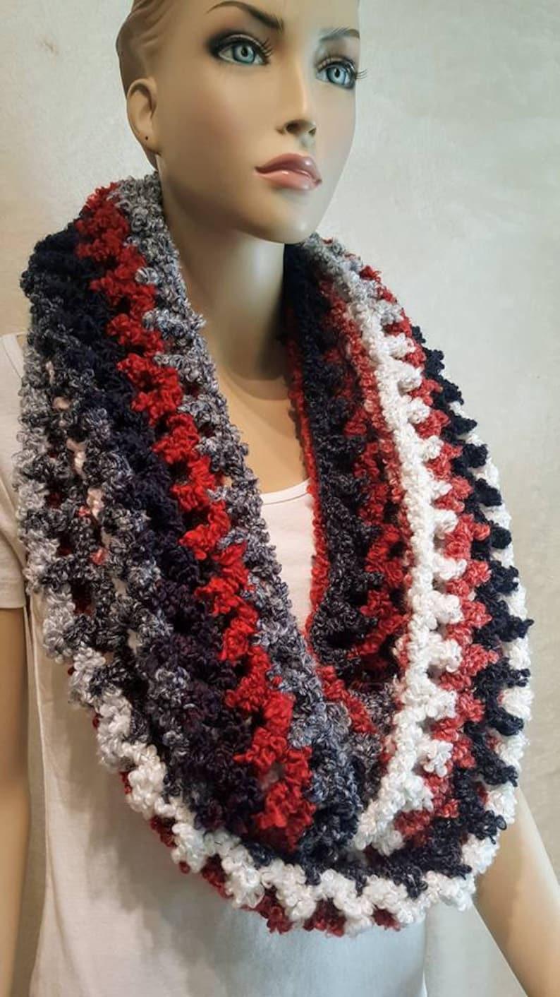 c0c4e7e6244 Noir rouge blanc foulard infini au Crochet écharpe au
