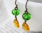 Green Yellow Dangle Earrings