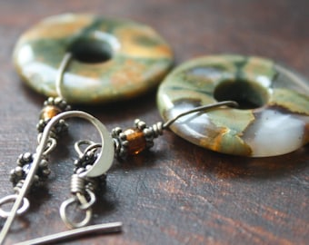 Woodland Green Agate, Silver, and Garnet Earrings