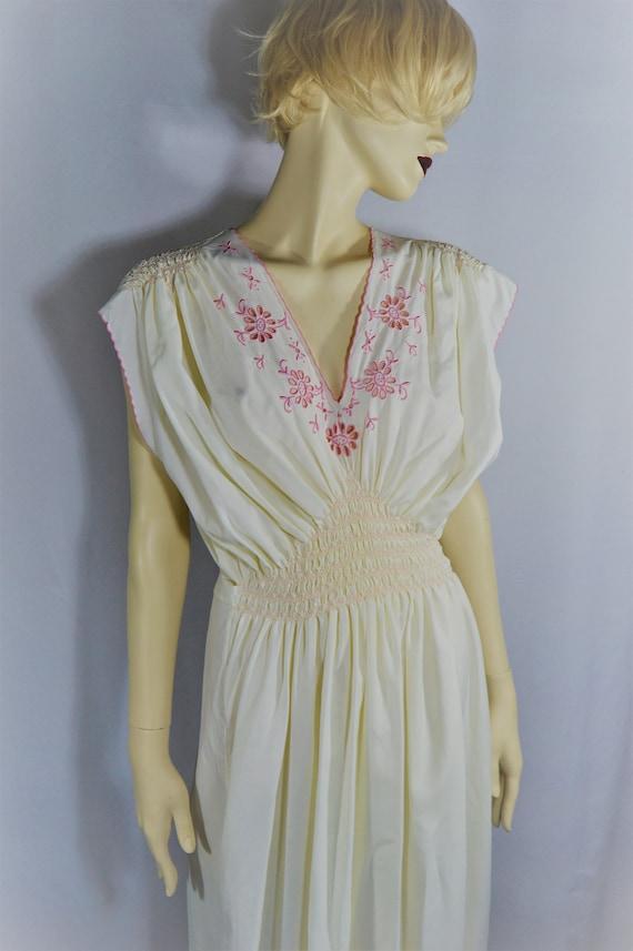 White Rayon Vintage Peasant Maxi Dress