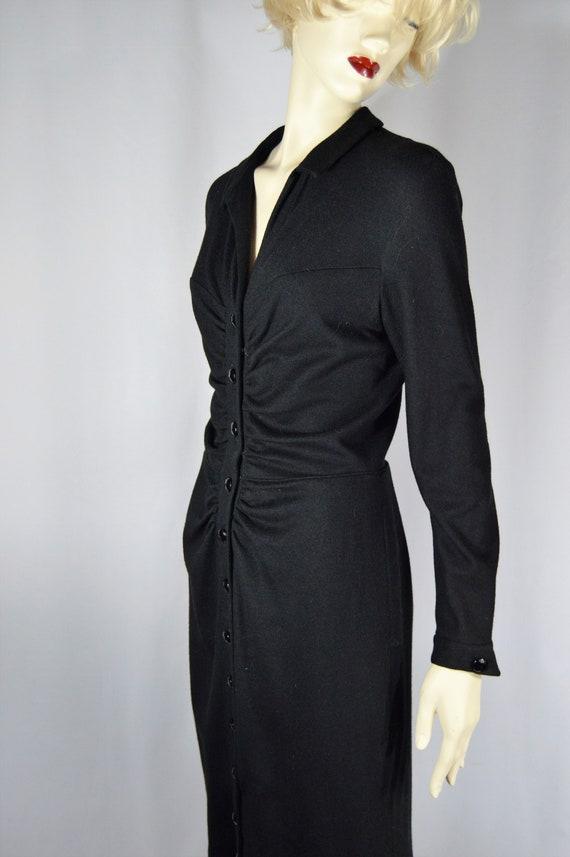 Black Wool / Glass Button Down Dress