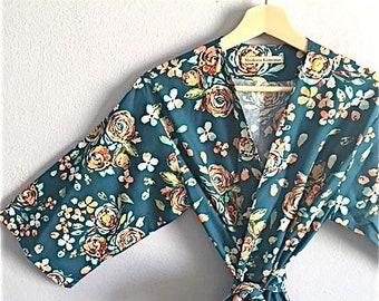 SALE SMALL Ready to Ship Knee Length Teal Bridesmaid Robes. Bridesmaids Robes. Bridal Robe. Kimono Robe. Dressing Gown. Bridesmaids Gift.