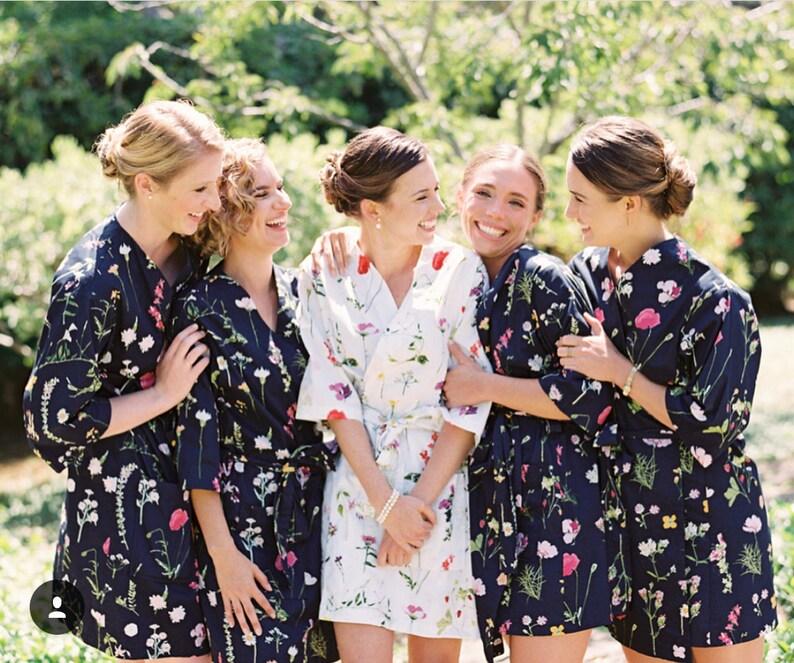 Custom Cotton Bridesmaids Robes   Navy Floral Bridesmaids  92c1a2797