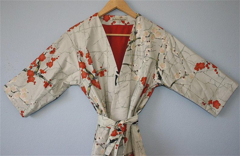 Flannel or Jersey LINED Kimono Robe Plus Size Kimono Kimono Small thru 2XL. Bathrobe Dressing Gown Modern Kimono Garden Grey