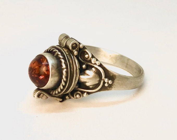 Amber Poison Ring, Orange Locket Ring, Sterling Silver Chamber Ring, May Birthstone, Gift For Her, Secret Compartment, SIZE 5  (P6)