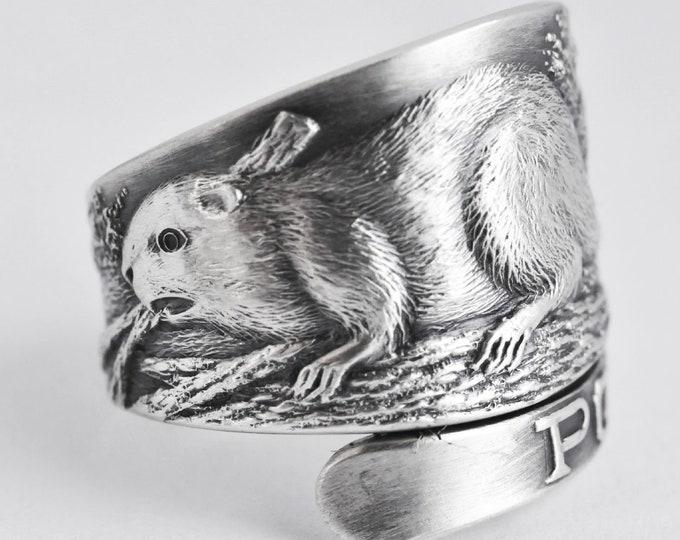 Beaver Ring, Animal Ring, 925 Sterling Silver Spoon Ring, Woodland Animal Ring, Animal Lovers Gift, Portland Beavers, Adjustable Ring (7623)