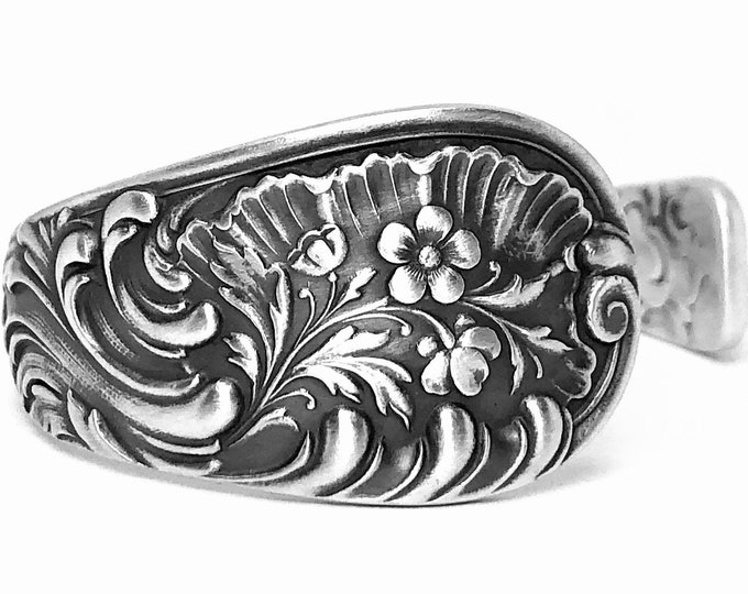 Floral Cuff Bracelet, Sterling Silver Spoon Bracelet, Antique Wood & Hughes Louvre 1885, Art Nouveau Bracelet, Adjustable Size 6 7 8 (B7414)