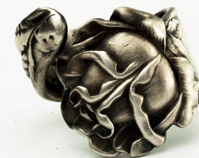 Bridal Rose Ring, Flower Ring, Sterling Silver Spoon Ring, Antique Alvin ca 1903, Handmade Gift for Gardeners, Adjustable Ring Size (7328)