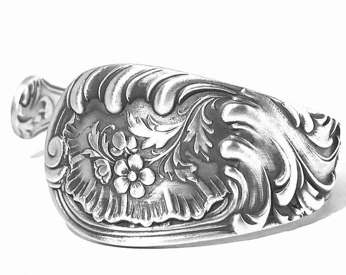 Fancy Floral Cuff Bracelet, Sterling Silver Spoon Bracelet, Antique Wood & Hughes Louvre 1885, Art Nouveau Bracelet, Open Size 6 7 8 (B7869)
