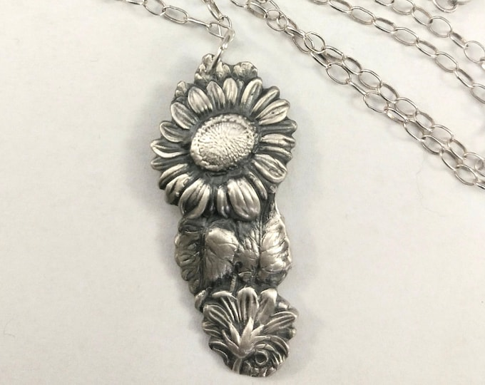 Sunflower Necklace, 925 Flower Spoon Necklace, Sterling Silver Sunflower Pendant, Botanical Jewelry, Nature Inspired Gift for Her (P7247)