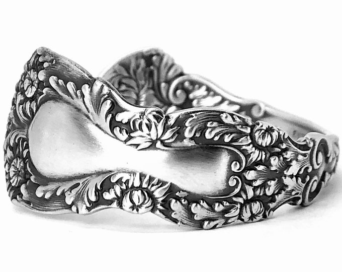 Mums Flower Spoon Bracelet, Sterling Silver Floral Bracelet Cuff, Antique Gorham Imperial Chrysanthemum ca 1894, 925 Petite Size 4 5 (B7423)