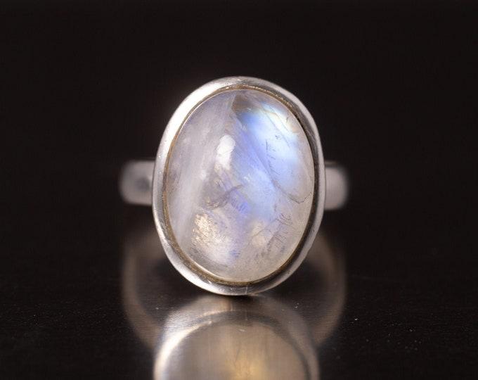 Sterling Silver Moonstone Ring, June Birthstone, Vintage Sterling Large Moonstone Ring, Clear White Moonstone, Size 8.5, Gift for Her, V7781