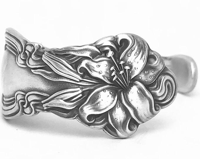 Sterling Stargazer Lily Bracelet, Sterling Silver Spoon Bracelet, Flower Bracelet Gift, Frontenac Lilly, Cuff Bracelet Size 6 7 8 (B7407)