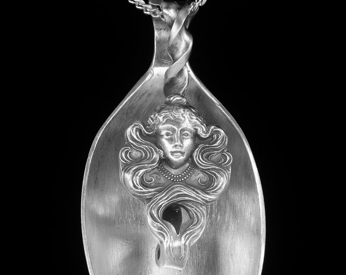 Art Nouveau Goddess Spoon Pendant, Sterling Silver Spoon Necklace, Antique Gorham Woman Face Flatware, Gift for Her, Cyber Monday Sale P7076