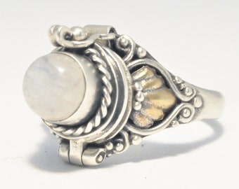Moonstone Ring, 925 Poison Ring, SIZE 5.25, Round White Locket Ring, Sterling Silver Chamber Ring, Moonstone Secret Compartment Ring (P101)