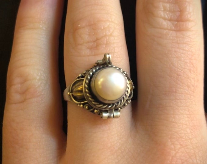 Pearl Poison Ring, Sterling Silver Locket, Round White Stone, June Birthstone, Chamber Ring, Secret Compartment, Size 5, 6.25, 8, 9 (P9)