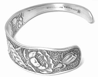 Rose Cuff Bracelet, Vintage Sterling Silver Spoon Cuff Bracelet, Towle Rose 1887, Antique Floral Bracelet Size 5 6 7, Gift for Her, (B7396)