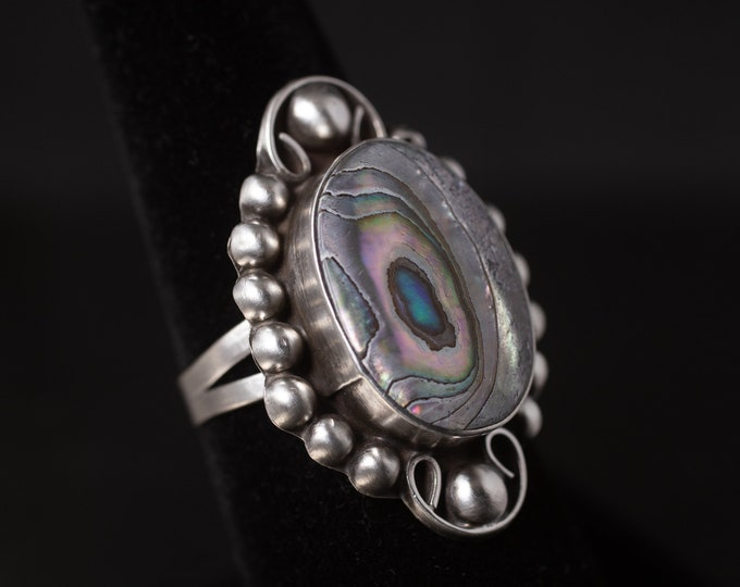 Paua Shell Ring, Vintage Statement Ring, Mother Of Pearl, Sterling Silver Ring, Abalone Shell, Ocean Colors, Gift for Her, Size 7 (V7832)