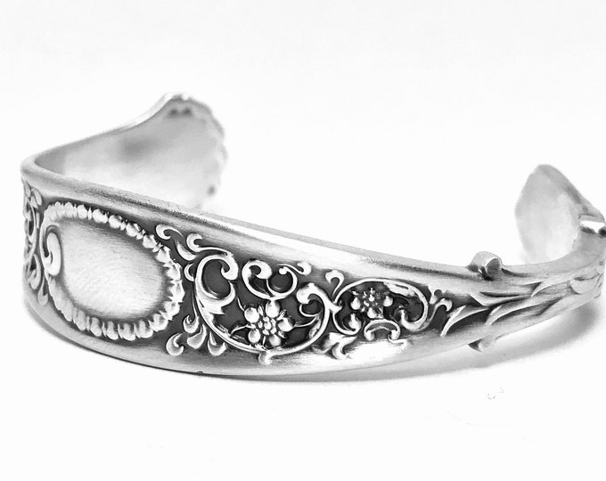 Forget Me Not Flowers Bracelet, Antique Sterling Silver Spoon Cuff, Rococo Jewelry, 5th Anniversery Gift, Custom Bracelet Size 6 7 (B7391)