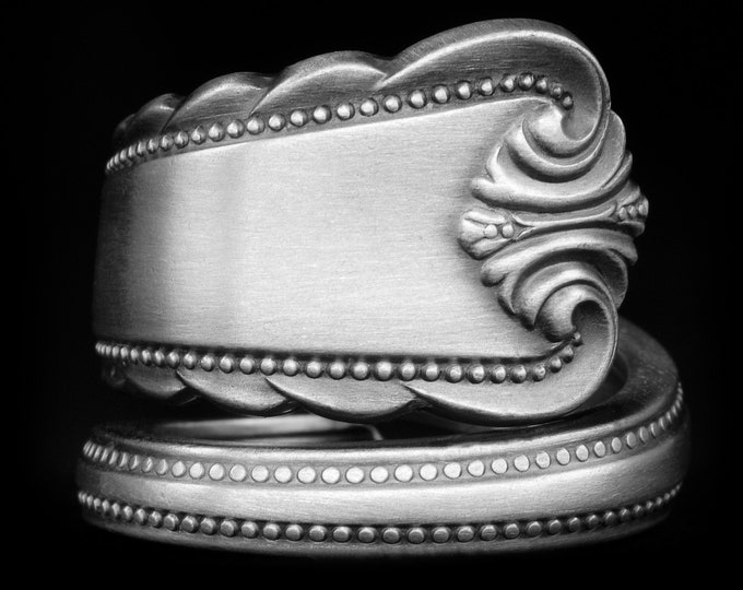 """Minimalist Sterling Silver Spoon Ring, Rogers """"Moonbeam"""" ca 1948, Elegant Victorian Ring, Gift for Her or Him, Adjustable Ring Size (7960)"""