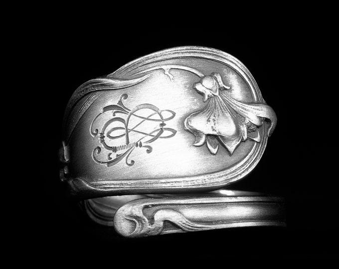 Petite Flower Spoon Ring, 800 Sterling Silver Spoon Ring, Beautiful Antique German Flatware, Handmade Gift for Her, Adjustable Size (7999)